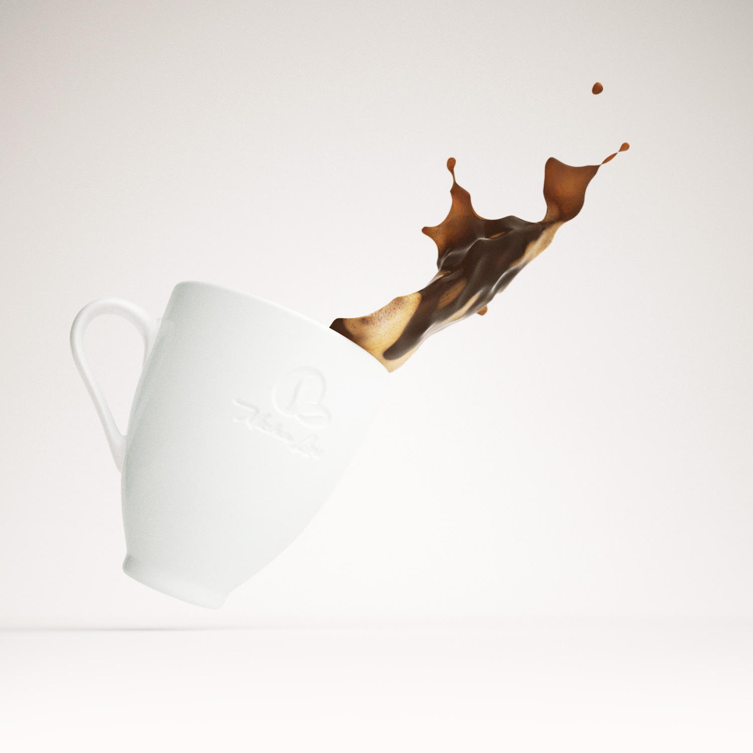 Rendering of a coffee mug spilling coffee
